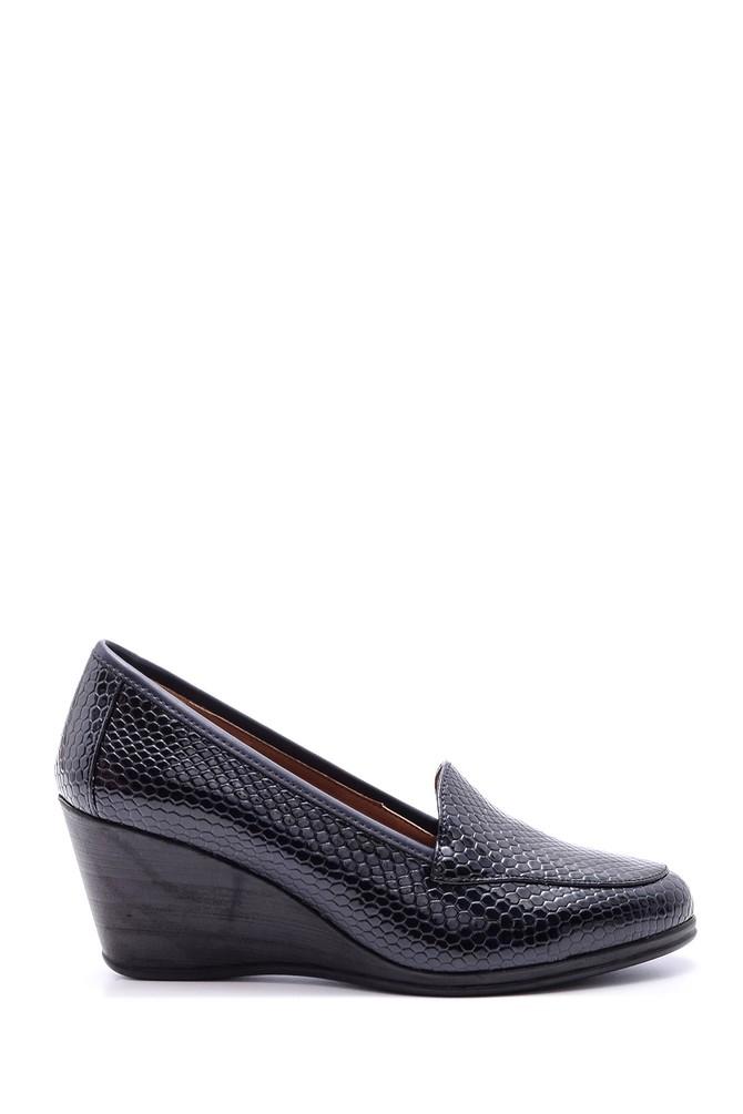 Lacivert Kadın Yılan Derisi Desenli Dolgu Topuklu Ayakkabı 5638082861