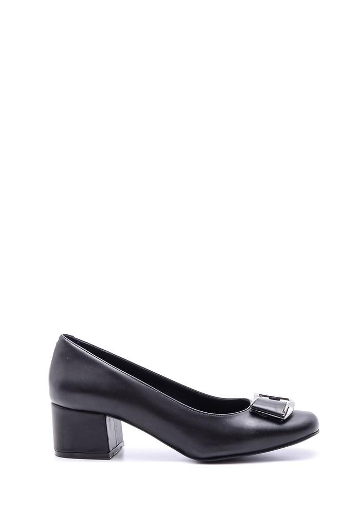 Siyah Kadın Fiyonklu Topuklu Ayakkabı 5638103363