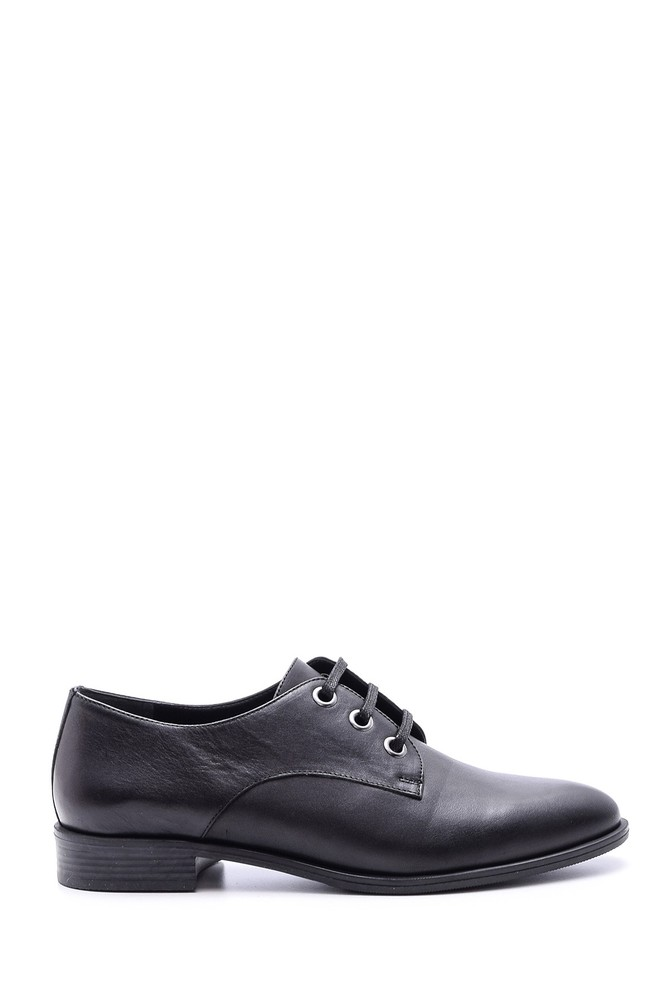 Siyah Kadın Klasik Deri Ayakkabı 5638092679