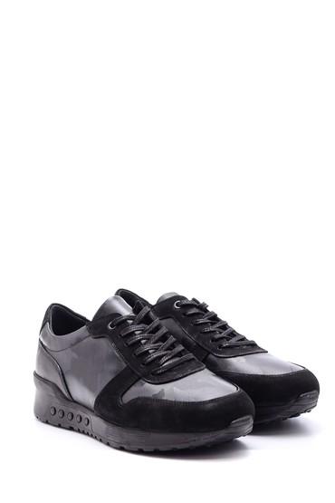 Siyah Erkek Süet Detaylı Deri Sneaker 5638095742