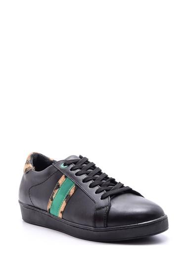 Siyah Kadın Leopar Detaylı Deri Sneaker 5638093940
