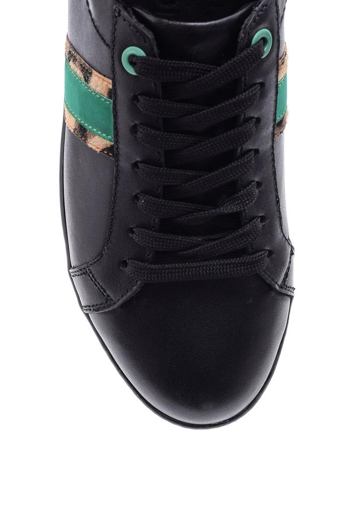 5638093948 Kadın Leopar Detaylı Deri Sneaker
