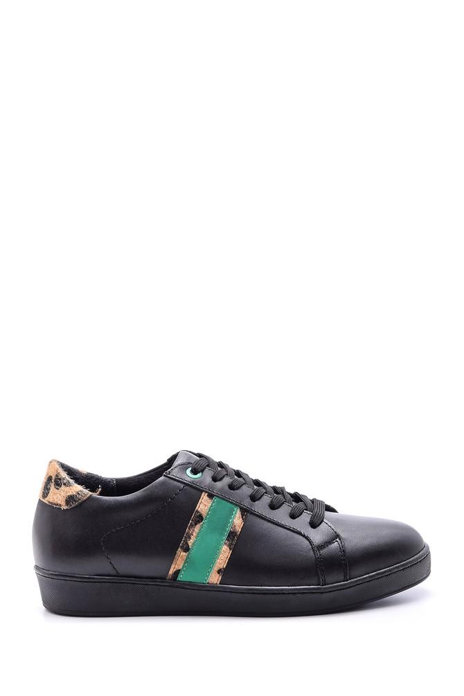 Siyah Kadın Leopar Detaylı Deri Sneaker 5638093948