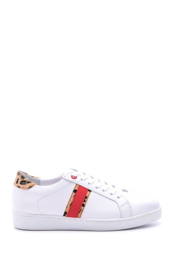 Beyaz Kadın Leopar Detaylı Deri Sneaker 5638093946