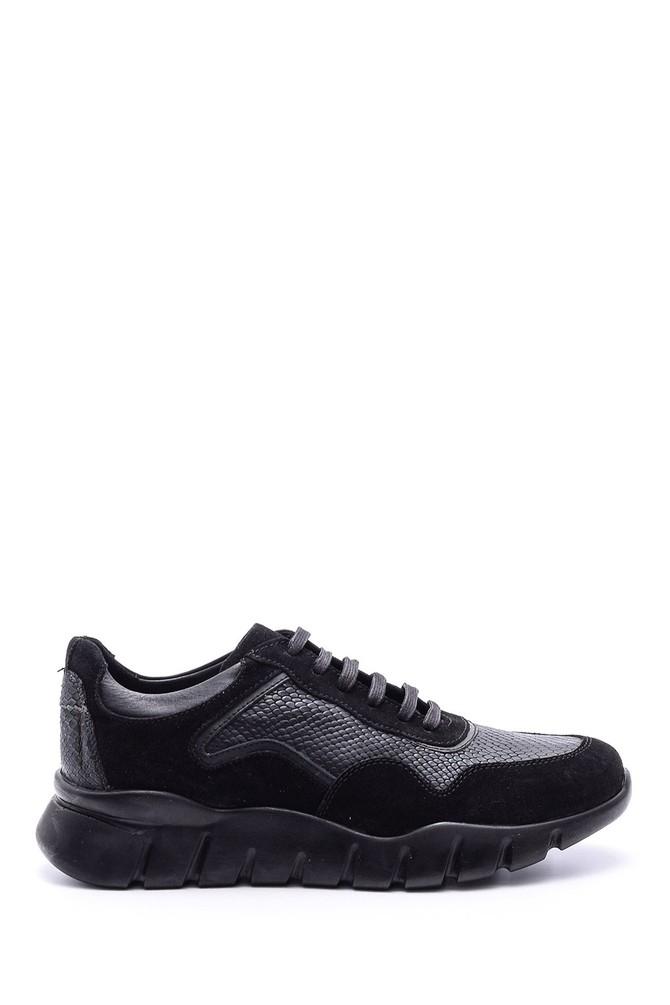 5638086023 Erkek Süet Detaylı Deri Sneaker