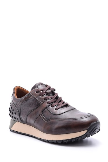 Kahverengi Erkek Deri Sneaker 5638089049