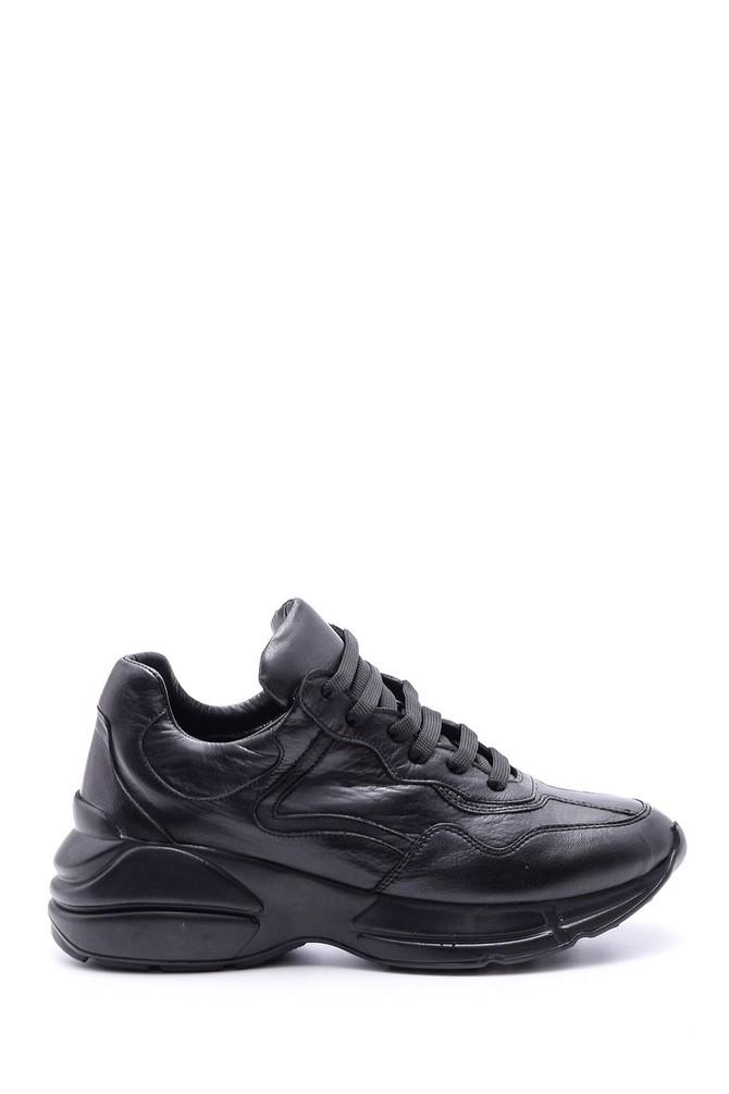 Siyah Kadın Yüksek Tabanlı Deri Sneaker 5638084106
