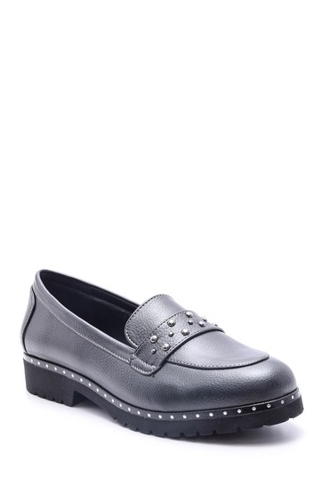 Gri Kadın Zımba Detaylı Ayakkabı 5638082016