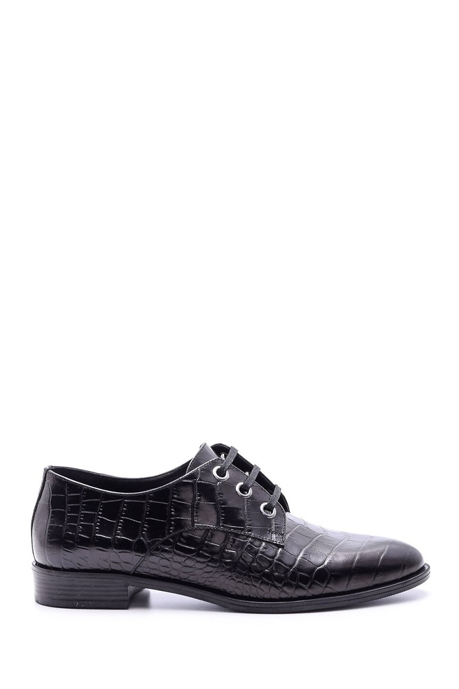 Siyah Kadın Kroko Desenli Ayakkabı 5638092671