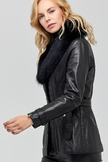 Siyah Sanremo Kadın Deri Ceket 5637990587