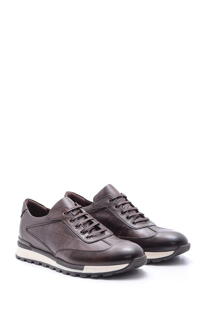 5638086108 Erkek Kroko Detaylı Deri Sneaker