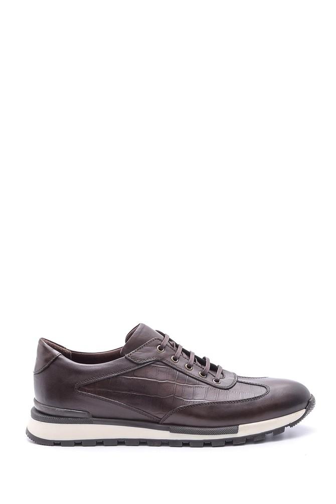 Kahverengi Erkek Kroko Detaylı Deri Sneaker 5638086108