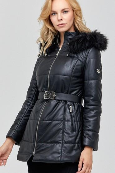 Siyah St.Moritz Kadın Deri Ceket 5638096341