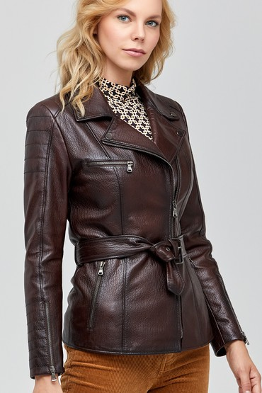 Kahverengi Mayfair Kadın Deri Ceket 5638100892