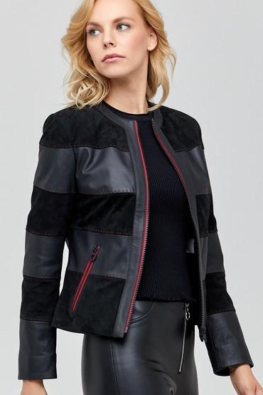 Siyah Florance Kadın Süet Deri Ceket 5638101011