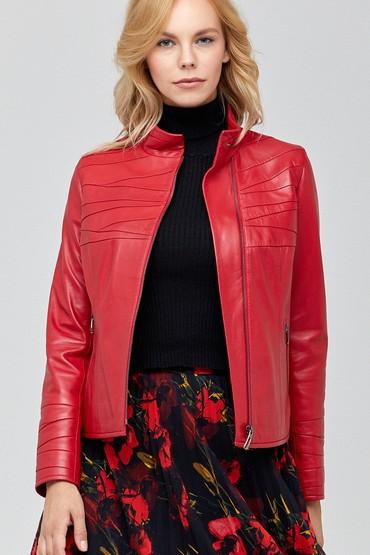 Kırmızı Roma Kadın Deri Ceket 5638114468