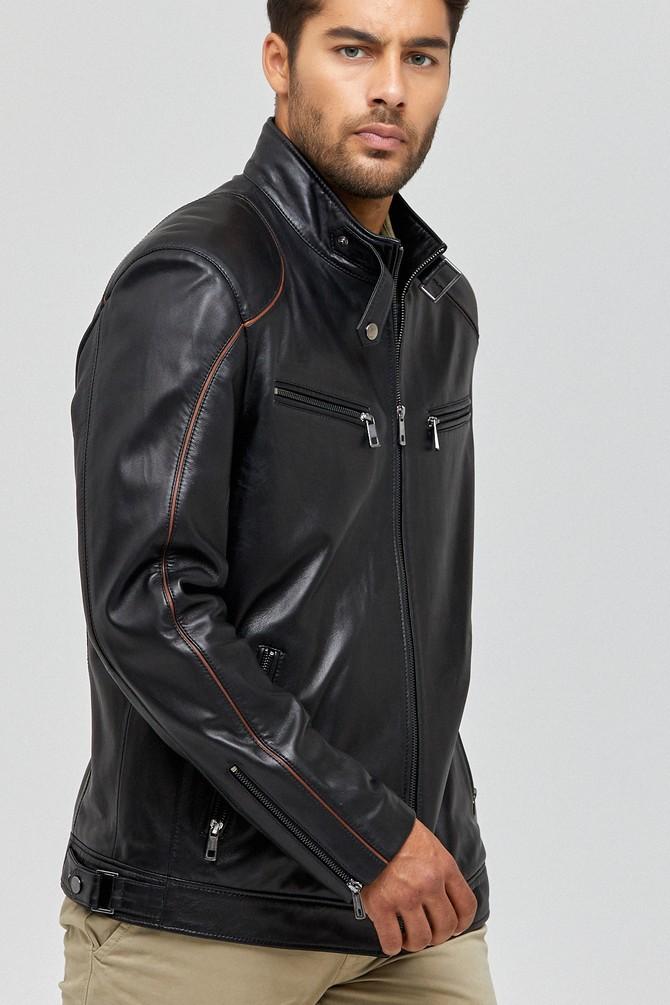 Siyah Cavani Erkek Deri Ceket 5638090495