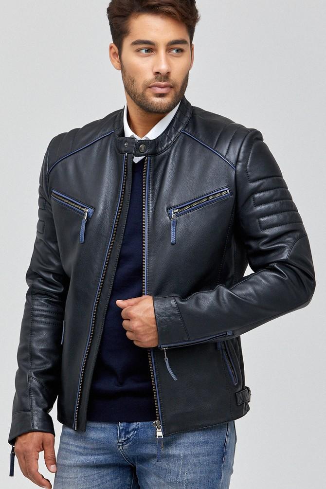 Siyah New Bosh Erkek Deri Ceket 5637968081