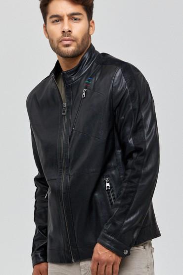 Siyah Pique Erkek Deri Ceket 5637968097