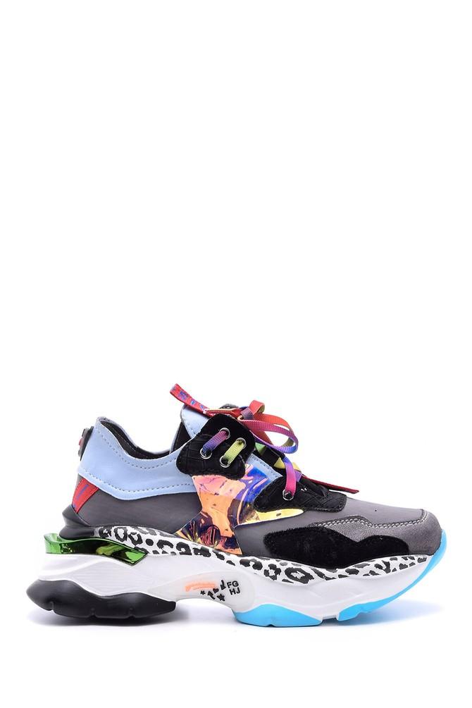 Renkli Desenli Kadın Renkli Yüksek Tabanlı Sneaker 5638095786