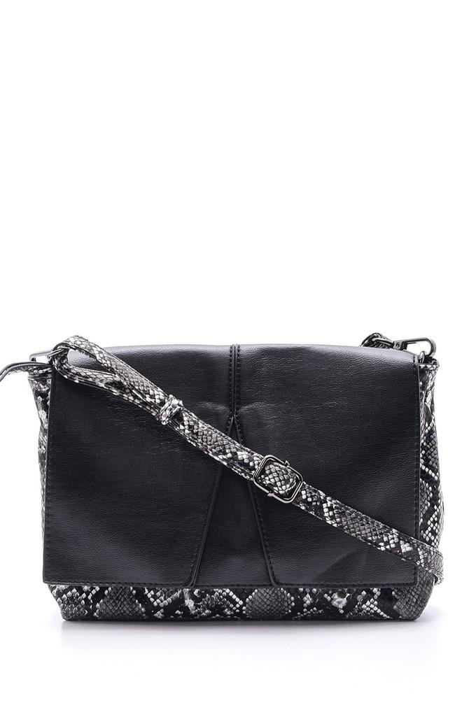 Siyah Kadın Kroko Detaylı Çanta 5638083885