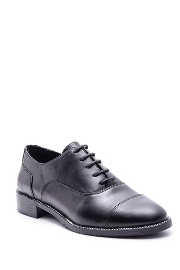 Siyah Kadın Klasik Deri Ayakkabı 5638092689
