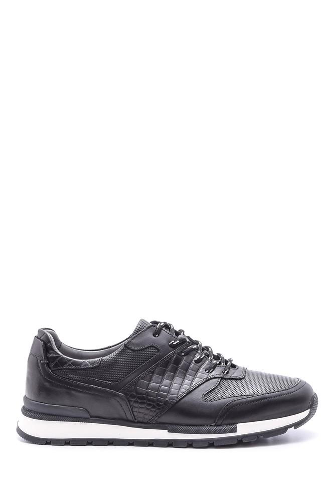 Siyah Erkek Kroko Detaylı Deri Sneaker 5638089304