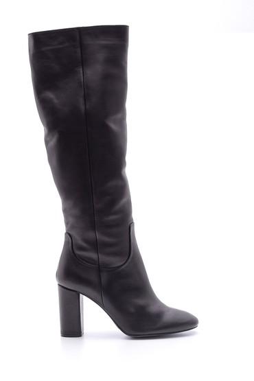 Siyah Kadın Topuklu Deri Çizme 5638085326