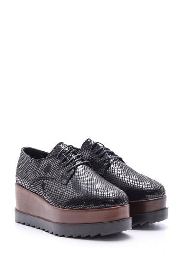 Siyah Kadın Yılan Derisi Desenli Yüksek Tabanlı Ayakkabı 5638094175
