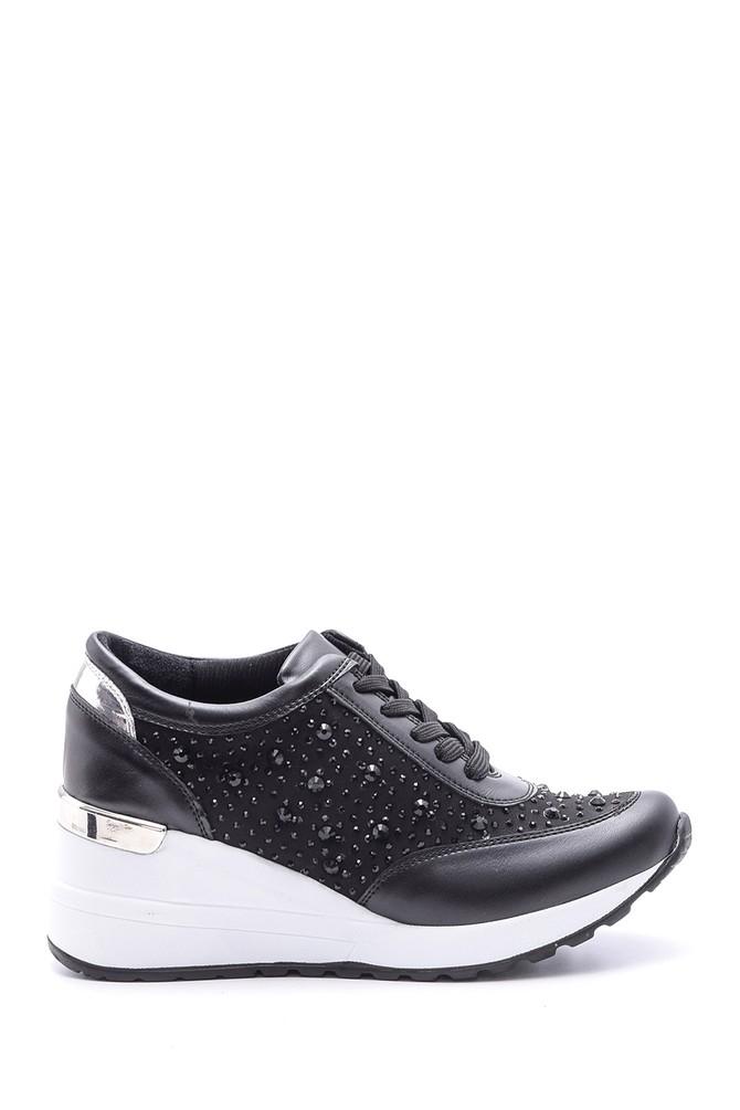 Siyah Kadın Taş Detaylı Yüksek Tabanlı Spor Ayakkabı 5638103182