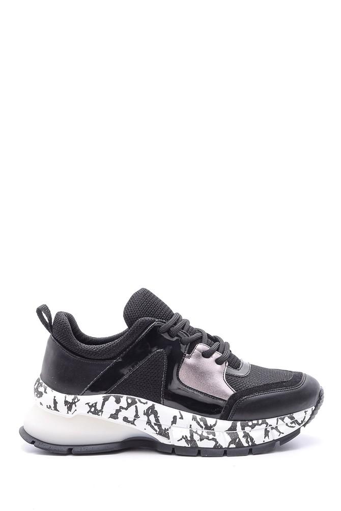 Siyah Kadın Yüksek Tabanlı Desenli Sneaker 5638106936