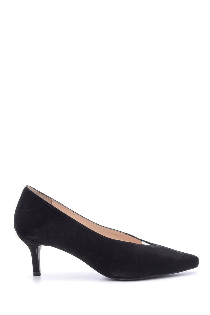 Siyah Kadın Süet Deri Topuklu Ayakkabı 5638115995