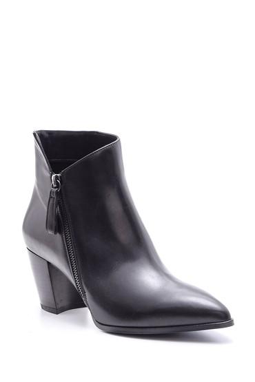 Siyah Kadın Topuklu Deri Bot 5638098036