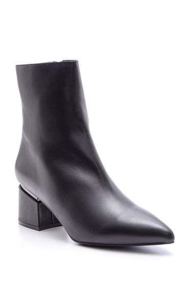 Siyah Kadın Topuklu Deri Bot 5638098066
