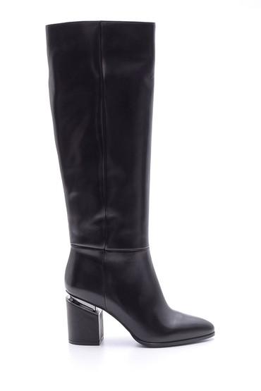Siyah Kadın Topuklu Deri Çizme 5638098289
