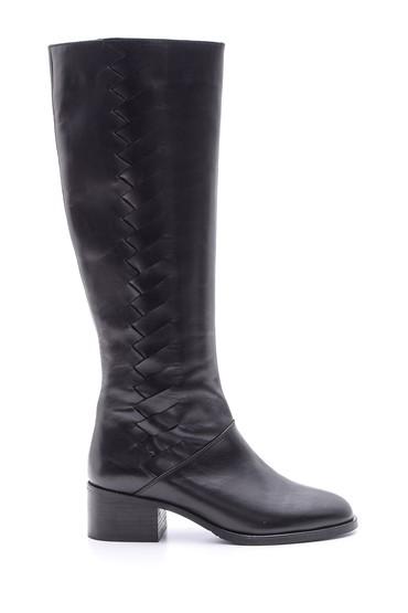 Siyah Kadın Deri Topuklu Çizme 5638066116