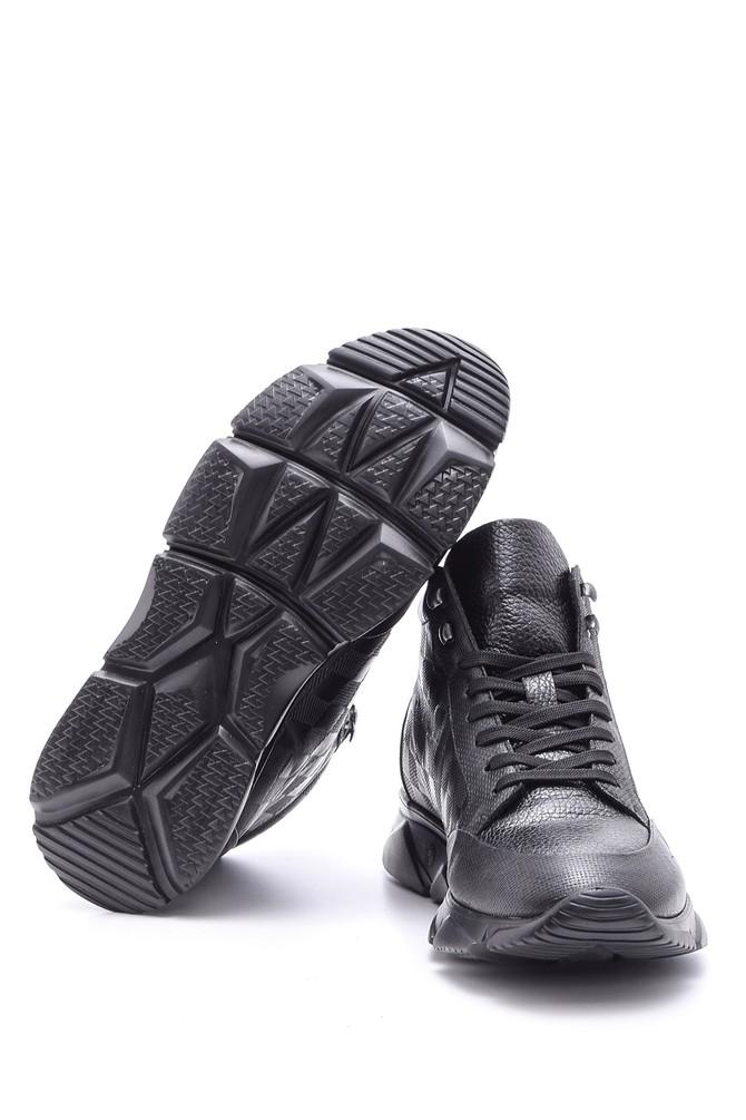 5638089128 Erkek Damalı Deri Bot Sneaker