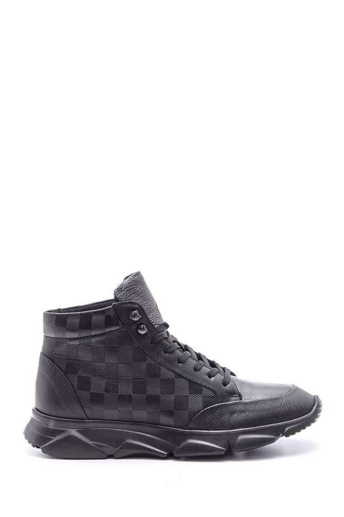 5638089120 Erkek Damalı Deri Bot Sneaker