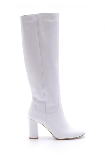 Beyaz Kadın Topuklu Deri Çizme 5638085328