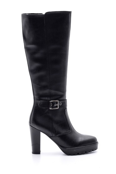 Siyah Kadın Topuklu Toka Detaylı Çizme 5638067954