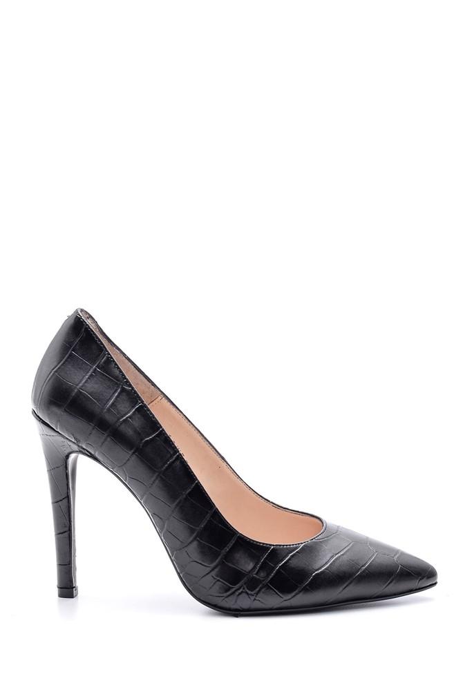 Siyah Kadın Kroko Desenli Stiletto 5638093862