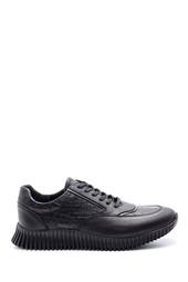 5638105682 Erkek Kroko Desenli Deri Sneaker