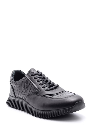 Siyah Erkek Kroko Desenli Deri Sneaker 5638105682