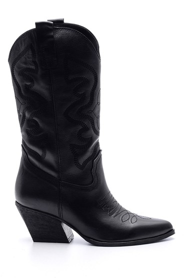 Siyah Kadın Deri Topuklu Kovboy Çizme 5638091200