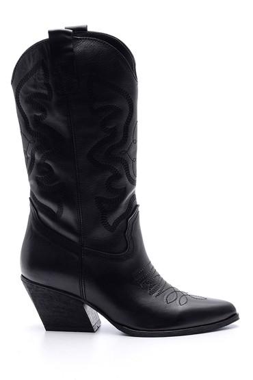 5638091200 Kadın Deri Topuklu Kovboy Çizme