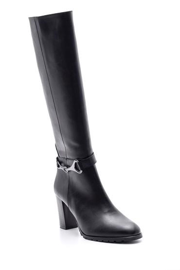 Siyah Kadın Topuklu Deri Çizme 5638067950