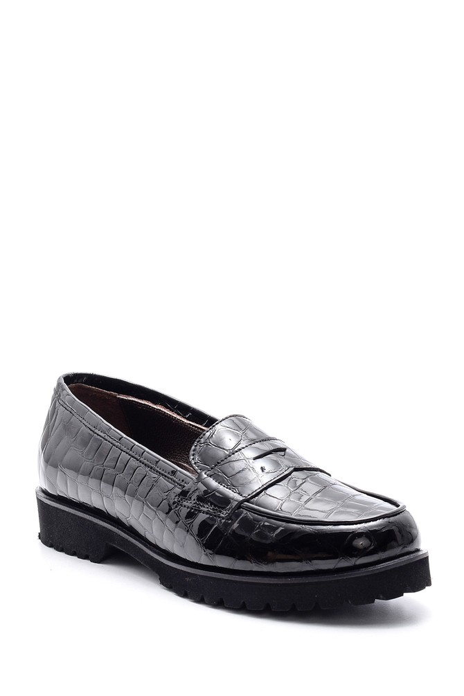 5638065819 Kadın Kroko Desenli Deri Loafer