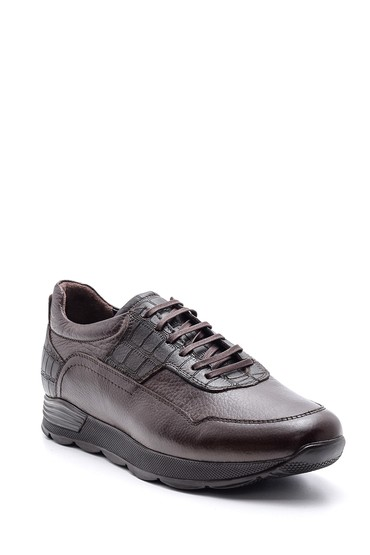 Kahverengi Erkek Kroko Detaylı Deri Sneaker 5638085995
