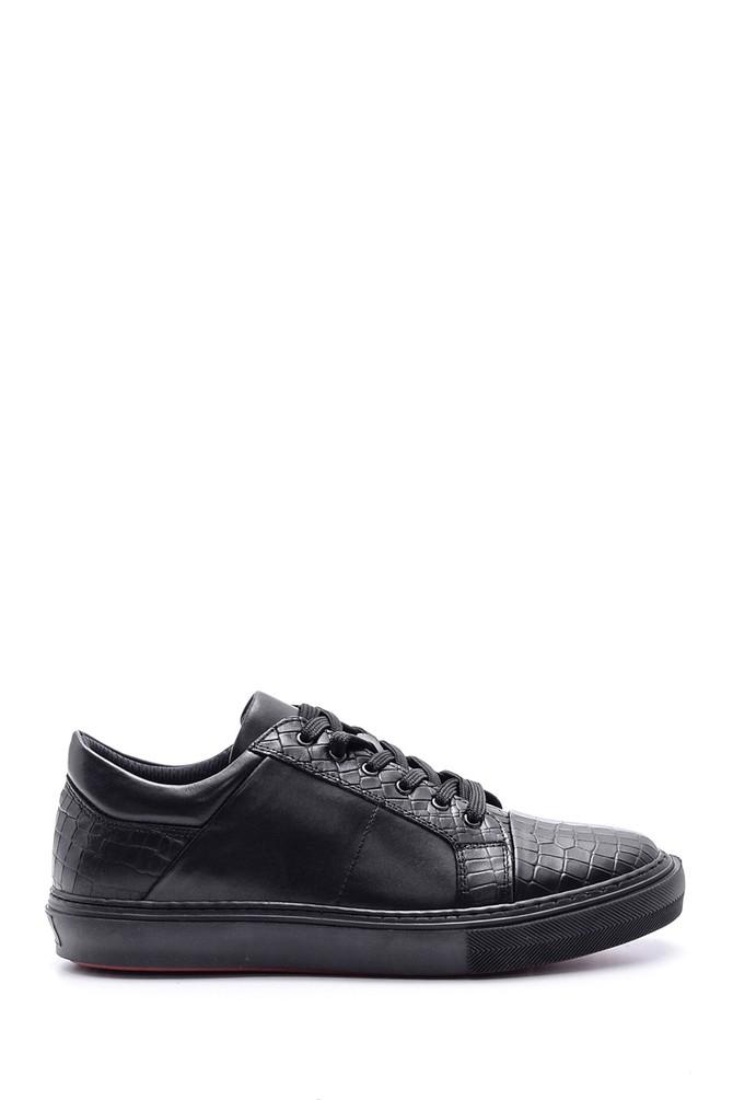 Siyah Erkek Kroko Detaylı Deri Sneaker 5638089777