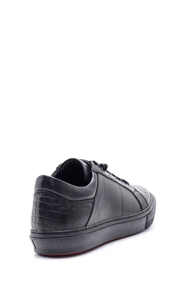 5638089777 Erkek Kroko Detaylı Deri Sneaker